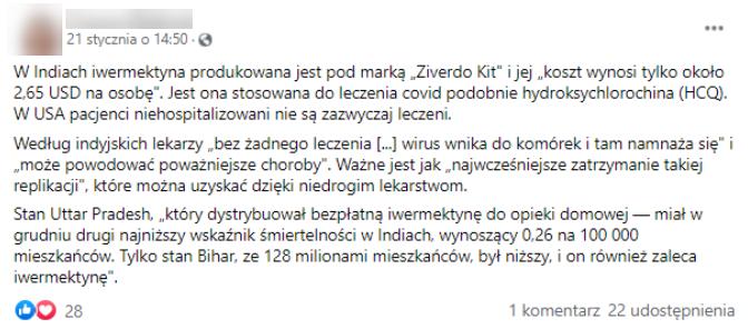 Wpis na Facebooku przekonujący o skuteczności iwermektyny w leczeniu COVID-19