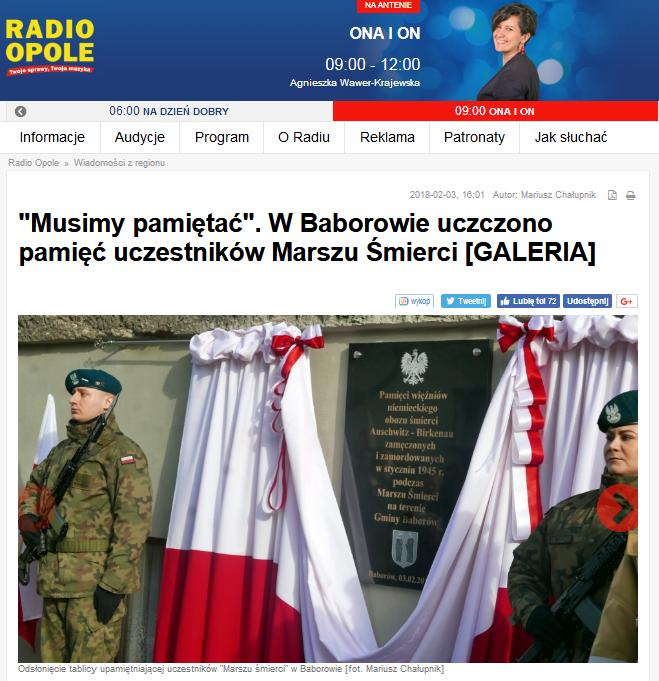 Screen ze strony radia Opole