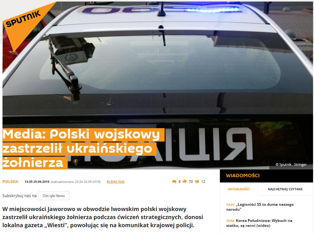 Artykuł na portalu Sputnik Polska