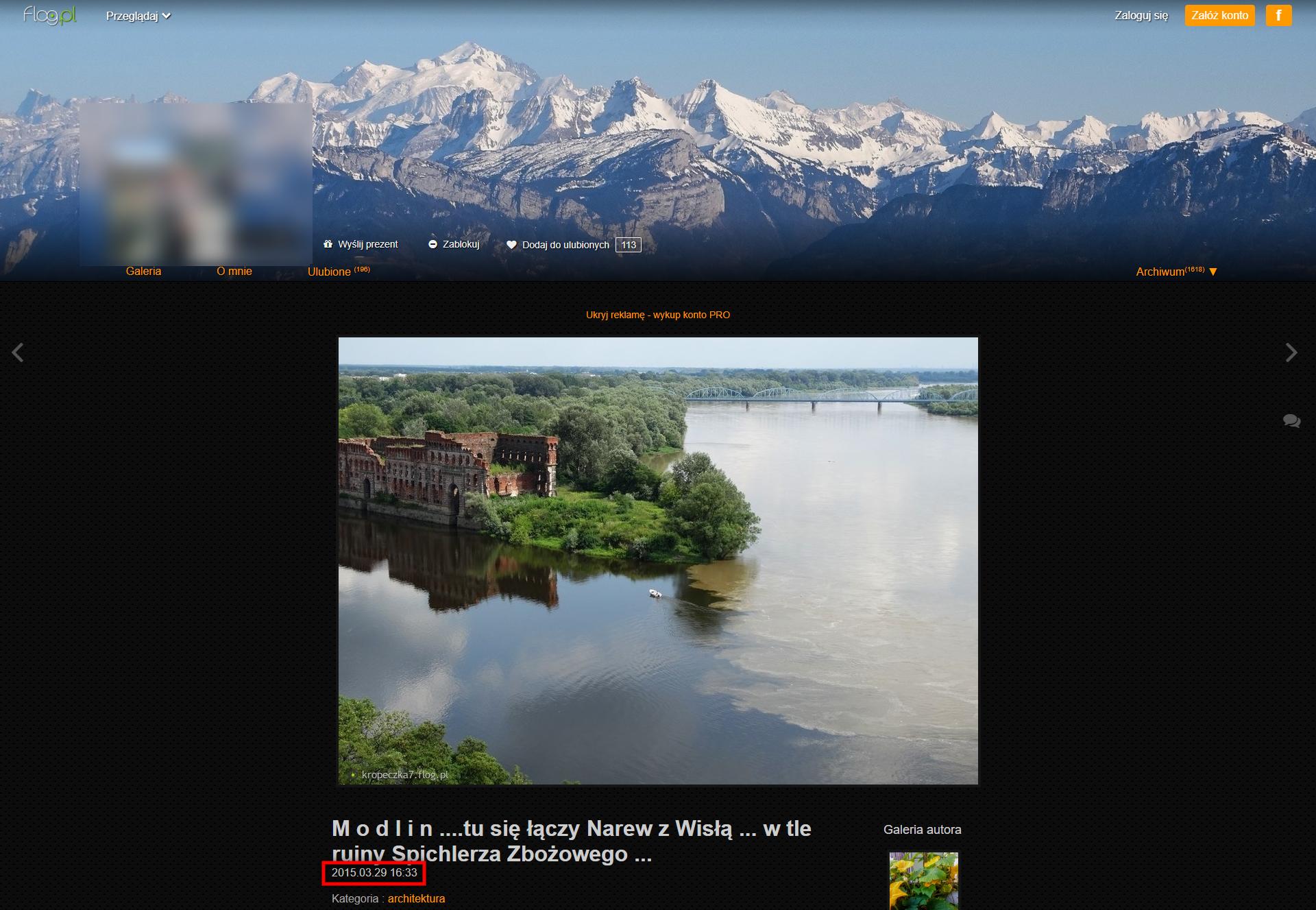 Strona flog.pl ze zdjęciem ujścia Narwi do Wisły z marca 2015 roku