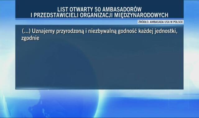 Treść listu 50 ambasadorów w sprawie praw osób LGBTI w Polsce